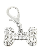 Swarovski Bone Dog Collar Charm (Clear Crystals) - Stunning Diamante Bone Charm (embellished with 34 Clear Swarovski Stones) attaches to any collar's D-ring with a lobster clip. Diamante Bone Charm. Measures approx. 1'' / 2.5cm wide.