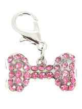 Swarovski Bone Dog Collar Charm (Pink Crystals) - Stunning Diamante Bone Charm (embellished with 34 Rose Swarovski Stones) attaches to any collar's D-ring with a lobster clip. Diamante Bone Charm. Measures approx. 1'' / 2.5cm wide.