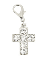 Swarovski Cross Dog Collar Charm - This glittering cross-shaped pendant features 6 large clear Swarovski Stones, a beautiful solid piece that attaches to any collar's D-ring with a lobster clip. Measures approx. 1'' / 2.5cm wide.