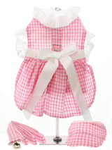 Pink Gingham / White Satin Ribbon Harness Dress, Lead & Hat - This sweet little pink gingham harness dress set is made from 100% soft cotton and is fully lined. It is belted with a white satin ribbon and has delicate white eyelet lace trimming the neck and arms. It has a sturdy reinforced D-Ring and a double sized / double strength velcro for comfortable and s...