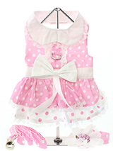 Baby Pink Polka Dot Harness Dress, Lead & Hat - Made from 100% light weight cotton, this baby pink polka dot harness dress has an adorable two tiered skirt and a collar trimmed in delicate lace. It has a sturdy reinforced D-Ring and a double sized / double strength velcro for comfortable and secure fastening. This harness dress set comes complete...