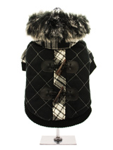 Tartan Duffle Coat with Detachable Hood - From our premium range of coats, this luxury tartan coat is cosy yet <br />versatile. It can be worn as seen, with the faux trimmed hood, to keep <br />your pup snug. Or, remove the hood and wear it as a duffle coat. The <br />elasticated arm and hem, alongside the velcro fastening all make for a <b...