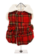 Red Highland Tartan Fleece-Lined Coat - Tartan is this trending this season and is a must have for your dogs wardrobe. This coat is fleece lined and also has a fleece collar and sleeves ensuring that your dog will stay snug and warm. The top-fastening buttons make it easy to dress or undress your dog and the box pleats and bows make this...