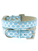 Silver & Blue Polka Dot Collar - This stunning blue and silver leather collar with a stitched edging has a crystal encrusted buckle, blue polka dots are laid out on a bed of silver to complete the look. A glamorous addition to the wardrobe of any trendy pooch.S-M Width: 14mmM-L Width: 19mmL-XL Width: 25mm