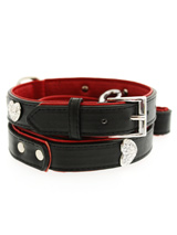 Red / Black Leather Diamante Heart Collar & Lead Set - This two tone red & black padded leather collar with a stitched edging has four bling sparkling diamante hearts which look particularly stunning against the black background of the collar. A glamorous addition to the wardrobe of any trendy pooch. Matching red & black two tone leather lead has silver...
