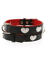 Red / Black Leather Diamante Heart Collar - This two tone black and red padded leather collar with a stitched edging has four bling sparkling diamante hearts which look particularly stunning against the black background of the collar. A glamorous addition to the wardrobe of any trendy pooch.S-M Width: 16mmM-L Width: 21mmL-XL Width: 27mm