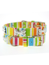 Striped Neon Canvas Diamante Bone Collar - A bright and fun neon collar, guaranteed to turn a grey day upside down! Finished in canvas with a stitched edge and features three chrome bones each inlaid with four diamante crystals.S-M Width: 14mmM-L Width: 19mmL-XL Width: 25mm