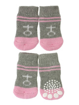 Grey / Pink ''Venus'' Pet Socks - These fun and functional doggie socks protect your dogs paws from mud, snow, ice, hot pavement, hot sand and other extreme weather. Made from 95% cotton and 5% spandex making them comfortable and secure. Each sock features a paw shaped anti-slip silica pad and help keep your house sanitary. (set of...