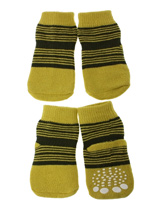 Yellow-Green Striped Pet Socks - These fun and functional doggie socks protect your dogs paws from mud, snow, ice, hot pavement, hot sand and other extreme weather. Made from 95% cotton and 5% spandex making them comfortable and secure. Each sock features a paw shaped anti-slip silica pad and help keep your house sanitary.