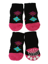 Black / Pink Argyle Pet Socks - These fun and functional doggie socks protect your dogs paws from mud, snow, ice, hot pavement, hot sand and other extreme weather. Made from 95% cotton and 5% spandex making them comfortable and secure. Each sock features a paw shaped anti-slip silica pad and help keep your house sanitary.