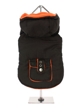 Brown / Orange Fleece-Lined Bodywarmer with Hood - This hooded Bodywarmer is just the thing for keeping you dog warm and comfortable as the colder days approach. It is lined with a vivid orange fleece to add a bit of colour to those dark winter days which will also keep your pup snug and warm. Four poppers on the underbelly allow for fast and easy c...