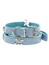 Skull & Crossbones Diamante Collar & Lead Set - Sparkling Bling Collar & Lead Set! This crocodile textured blue leather collar with a stitched edging has a crystal encrusted buckle with three large / bling sparkling diamante skull & crossbones. A glamorous addition to the wardrobe of any trendy pooch<ul><li><b>S-M</b> Width: 14mm</li><li><b>M-L</...