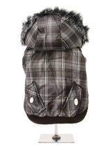 Brown Checked Parka with Detachable Hood - Another coat from our premium range of quilted coats. This is a luxuriously parka coat with a fur trimmed detachable hood. It gives your dog two styles in one; wear it as a parka or, when the hood is removed, it can be worn as a coat. The arms and hem are elasticated for a great fit. It fastens from...