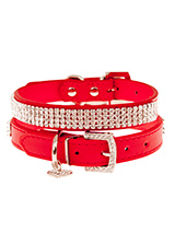 Flame Red Diamante Dog Collar - This dazzling Diamante dog collar in red is truly stunning. The collars have 4 rows of sparkling diamante crystals. It comes complete with a diamante heart collar charm and crystal encrusted buckle. A pure bling accessory that will adorn your dogs neck with a unique brilliance. Truly a glamorous add...
