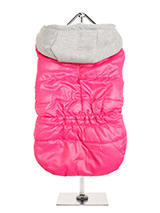 Hot Pink Bodywarmer with Cotton Hood - This Hot Pink Bodywarmer with Cotton Hood is a new hot colour for this <br />season. It has a contrasting grey hood and is just the thing for those <br />cold days and colder nights. Fleece lined to keep your pup snug and warm <br />and includes a leash hole at the neck to allow a harness to be worn...