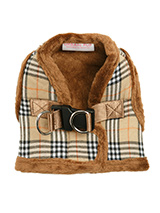 Luxury Fur Lined Brown Tartan Harness - What can we say only that this harness is most definitely the height of luxury. It is soft warm and heavy with a double D-ring for extra security. It is lined with faux fur and finished around the neck and arms again with faux fur for a super comfortable fit and finish. A matching lead is available...