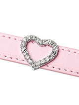 Crystal Heart 18mm Slider (for personalised collars) - Crystal Heart 18mm Slider for accessorising our personalised collars. Why not finish your dogs name with a heart to show your love. Or perhaps just have the heart on its own. Either way this is a fantastic bling accessory.