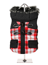 Highland Tartan Duffle Coat  - This two tone tartan designed coat is inspired by the traditions of the Highlands of Scotland. It is fleece lined to keep your dog snug and warm. It also has a faux fur trimmed hood with is both stylish and practical. It fastens from the underside with four pop-on pop-off buttons and is finished on...
