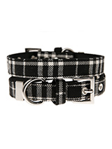 Black & White Tartan Fabric Collar - Our Black and White Tartan collar is a traditional design which is stylish, classy and never goes out of fashion. It is lightweight and incredibly strong. The collar has been finished with chrome detailing including the eyelets and tip of the collar. A matching lead, harness and bandana are availabl...