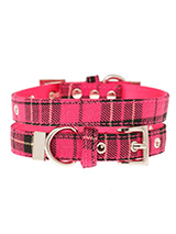 Fuschia Pink Tartan Fabric Collar - Our Fuschia Pink Checked Tartan collar is a traditional design which is stylish, classy and never goes out of fashion. It is lightweight and incredibly strong. The collar has been finished with chrome detailing including the eyelets and tip of the collar. A matching lead, harness and bandana are ava...