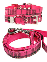 Fuschia Pink Tartan Fabric Collar & Lead Set - Our Fuschia Pink Checked Tartan collar & lead set is a traditional design which is stylish, classy and never goes out of fashion. It is lightweight and incredibly strong. The collar has been finished with chrome detailing including the eyelets and tip of the collar. A matching lead, harness and band...