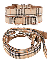 Brown Checked Tartan Fabric Collar &amp; Lead Set - Our Brown Checked Tartan collar and lead set is a traditional design which <br />is stylish, classy and never goes out of fashion. It is lightweight and <br />incredibly strong. The collar has been finished with chrome detailing <br />including the eyelets and tip of the collar. A matching lead, har...