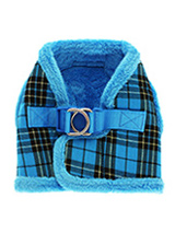 Luxury Fur Lined Blue Tartan Harness - What can we say only that this harness is most definitely the height of luxury. It is soft warm and heavy with a double D-ring for extra security. It is lined with faux fur and finished around the neck and arms again with faux fur for a super comfortable fit and finish. A matching lead is available...