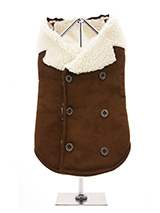 Shearing Aviator Jacket - You will find it hard to resist our shearing aviator jacket. It is so soft, light and smooth to the touch but still incredibly warm. Fleece lined with a faux suede outer it really is a great coat for keeping you dog warm and snug. It's has a traditional double breasted finish with six buttons three...