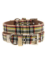 Brown Tartan Collar - Our Brown Checked Tartan collar is a traditional design which is stylish, classy and never goes out of fashion. It is lightweight and incredibly strong. The collar has been finished with chrome detailing including the eyelets and tip of the collar. A matching lead, harness and bandana are available...