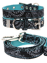 Black & Blue Paisley Collar & Lead Set - The Paisley pattern has its origins in Ancient Babylon but is now synonymous with the town of Paisley in Scotland. We thought it would look class on your dog.It is lightweight and incredibly strong. The collar has been finished with chrome detailing including the eyelets and tip of the collar. A mat...