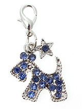 Blue Diamante Scottie Dog Collar Charm - Accent your pup's collar with our Blue Diamante Scottie Dog Collar Charm. The adorable dog shape lets everyone know who's the most fashionable pup on the block. The rhinestone accents add all the bling you need, for eye-catching style that matches the sparkling personality of your best friend.