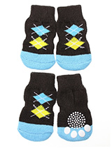 Brown & Blue Argyle Pet Socks - These fun and functional doggie socks protect your dogs paws from mud, snow, ice, hot pavement, hot sand and other extreme weather. Made from 95% cotton and 5% spandex making them comfortable and secure. Each sock features a paw shaped anti-slip silica pad and help keep your house sanitary. (set of...