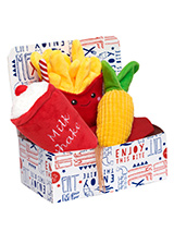 Corn Cob Meal Deal Box (3 Toy Combo) - Get your dog a meal deal bargain with our Corn on the Cob, fries, and milkshake combo! What could be better than this corn vegetarian option complete with fries and all washed down with cool milkshake. For maximum fun pretend it is for you and savour it before handing it over, it will make it even m...