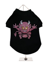 Little Devil GlamourGlitz Dog T-Shirt - Exclusive GlamourGlitz 100% Cotton Dog T-Shirt. A devilish T-Shirt for your little devil, a beautiful devil design crafted with Pink Rhinestuds that catch a sparkle in the light. Wear on it's own or match with a GlamourGlitz ''Mommy and Me'' Women's T-Shirt to complete the look.