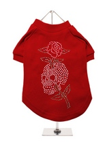 Skull & Rose GlamourGlitz Dog T-Shirt - Exclusive GlamourGlitz 100% Cotton Dog T-Shirt. With a tattoo design attributing to 80's Glam Rock and crafted with Silver, Green and Red Rhinestuds that catch a sparkle in the light. Wear on it's own or match with a GlamourGlitz ''Mommy and Me'' Women's T-Shirt to complete the look.