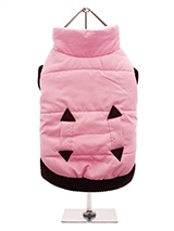 Pink Quilted Coat - Practical and fashionable in girly pink trimmed with a dark brown <br />elasticated ribbed hem for a nice neat fit. The soft fleece lining will <br />certainly keep your pup snug and warm. The coat is finished with two <br />pockets and fastens along the underside with four poppers making it easy <b...