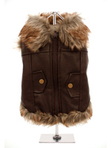 Luxury Brown Leather and Fur Lined Coat - For the ultimate in dog coats, it has to be this Luxury Brown Leather and Fur Lined Coat. The front fastening zip makes it very easy to take on and off your pup. While, the faux fur edging gives a real fluffy effect for your pup. The two mock pockets on the back complete the look, and the fleece lin...