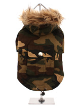 Forest Camouflage Parka - This military style camouflage parka is ideal for walks in the park or forest and is robust enough for even the most adventurous pet. The hood is trimmed with faux fur and the coat is lined with soft warm fleece. The drawstring hem gives the Camouflage Parka a neat fit that will keep the cold and wi...