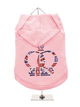 GlamourGlitz Royal Crown Dog Hoodie - Exclusive GlamourGlitz 100% Cotton Hoodie. Fit for your prince or princess, the Crown Design is a real style indicator and a must have look. Crafted with Red, Silver and Blue Rhinestuds that catch a sparkle in the light. Wear on it's own or match with a GlamourGlitz ''<b>Mommy & Me</b>'' Women's T-S...
