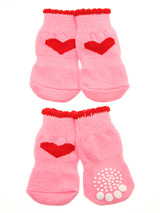 Pink Hearts Pet Socks - These fun and functional doggie socks protect your dogs paws from mud, snow, ice, hot pavement, hot sand and other extreme weather. Made from 95% cotton & 5% spandex making them comfortable and secure. Each sock features a paw shaped anti-slip silica pad & help keep your house sanitary. (set of 4).
