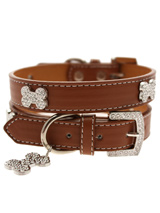 Brown Leather Diamante Collar & Diamante Bone Charm - Sparkling Bling Collar! This brown leather collar with a stitched edging has a crystal encrusted buckle with three large / bling sparkling diamante bones and a large sparkling diamante charm complete the look. A glamorous addition to the wardrobe of any trendy pooch.S-M Width: 14mmM-L Width: 19mmL-X...