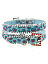 Handcrafted Cool Blue Bling Collar - Bling Bling, this stunning Cool Blue Collar with a silver edging is encrusted with Blue, Pink and Silver sparkles, ideal for the ultimate stylish pooch who likes to look their very best. A crystal encrusted buckle finished with Red diamantes completes the look.