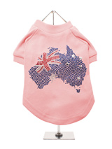 Australia Flag GlamourGlitz Dog T-Shirt - Exclusive GlamourGlitz 100% Cotton Dog T-Shirt. A full Australian Flag design crafted with Red, Silver & Blue Rhinestuds that catch a sparkle in the light. Wear on it's own or match with a GlamourGlitz ''<b>Mommy & Me</b>'' Women's T-Shirt to complete the look.