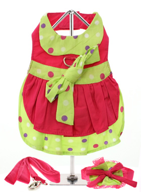 Hot Pink & Polka Dot Harness Dress, Lead & Hat