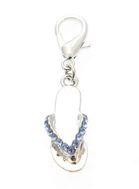 Swarovski Flip Flop Dog Collar Charm (Blue Crystals)