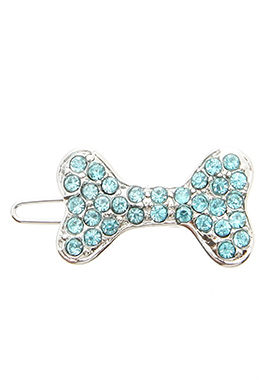 Swarovski Bone Hair Clip / Dog Barrette (Blue Crystals)