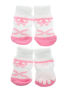 Pink / White Bow Tie Pet Socks