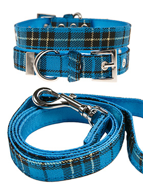 Blue Tartan Fabric Collar & Lead Set