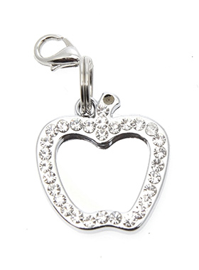 Apple Diamante Mirrored  Dog Collar Charm