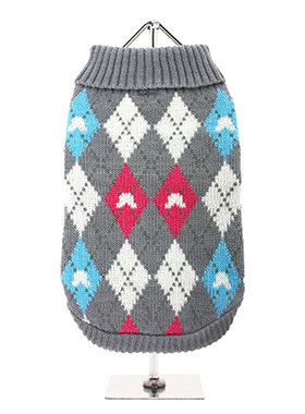 Grey & Pink Argyle Sweater